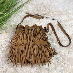 Patricia Nash Bronte fringe drawstring bucket bag
